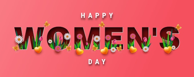 Projekt banera lub kartki z życzeniami na międzynarodowy dzień kobiet, wycięte z papieru litery z wiosennymi kwiatami i różą