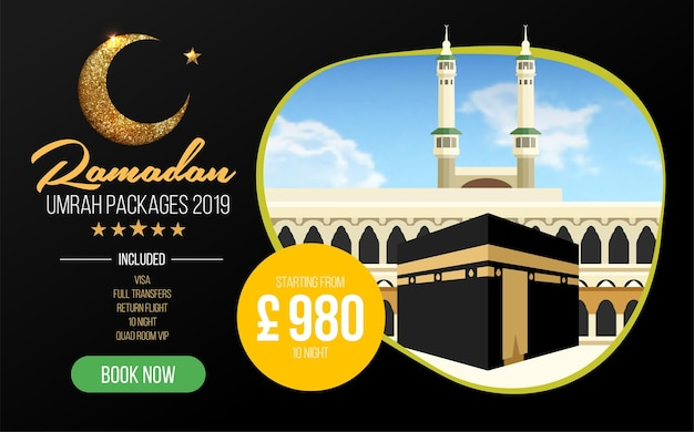 Projekt banera lub ulotki dla pakietów umrah reklamy rezerwuj tanie pakiety ramadan umrah umrah i hajj szablon ulotek
