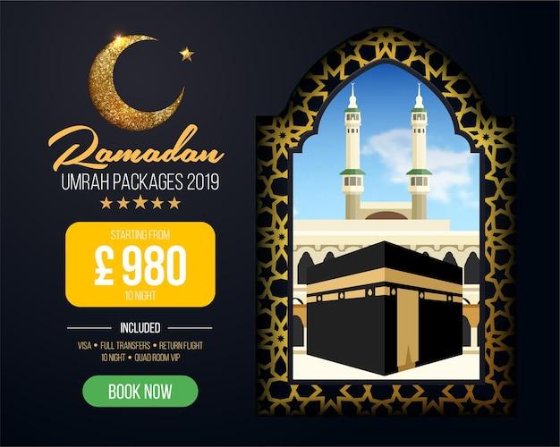 Projekt banera lub ulotki dla reklam pakietów umrah, zarezerwuj tanie pakiety ramadan umrah