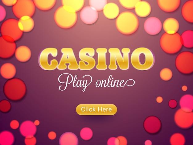Projekt banera mediów społecznościowych kasyna ozdobione złotymi błyszczącymi symbolami kart do gry.