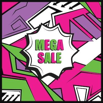 Projekt banera mega sprzedaży. streszczenie kolorowy układ na sprzedaż promo. edytowalny szablon wektorowy