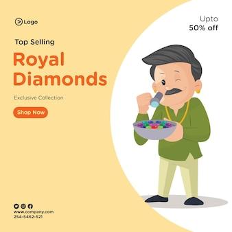 Projekt banera najlepiej sprzedających się królewskich diamentów