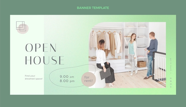 Projekt banera nieruchomości z otwartym domem
