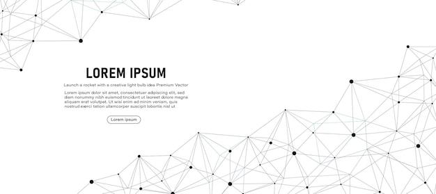 Projekt banera o globalnym połączeniu low poly z linią i kropkami