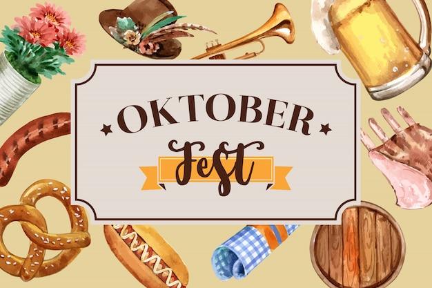 Projekt banera oktoberfest z tyrolskim kapeluszem, piwem, kiełbasą i trąbką