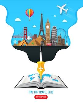 Projekt banera podróżnego ze słynnymi zabytkami dla popularnego bloga podróżniczego lub witryny turystycznej