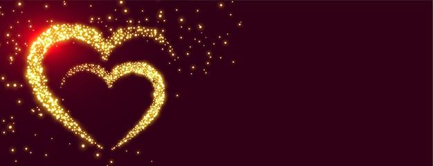 Projekt banera premium złote musujące serca walentynki