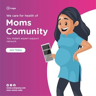 Projekt banera przedstawiający dbamy o zdrowie społeczności mam z kobietą w ciąży trzymającą raporty w dłoniach