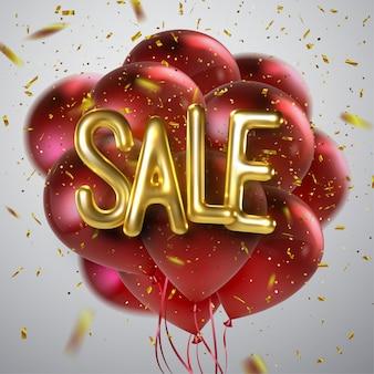 Projekt banera sprzedaż. 3d ilustracja promocyjna reklamy etykietka. realistyczna złota wyprzedaż. czarny piątek sprzedaż zestawu plakatów lub ulotek z balonami i konfetti. ilustracja.