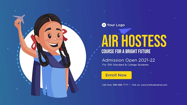 Projekt banera szablonu stylu kreskówki stewardesa