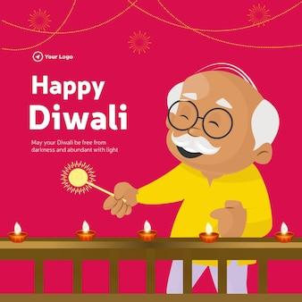 Projekt banera szczęśliwego szablonu stylu kreskówki diwali indian festival