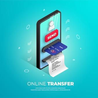 Projekt banera transferu online. izometryczny szablon banku mobilnego z bankomatu smartfona, karty kredytowej, ikony użytkownika i przycisku. płatności online 3d koncepcja, wysyłanie ilustracji pieniędzy dla sieci web, aplikacji, reklam