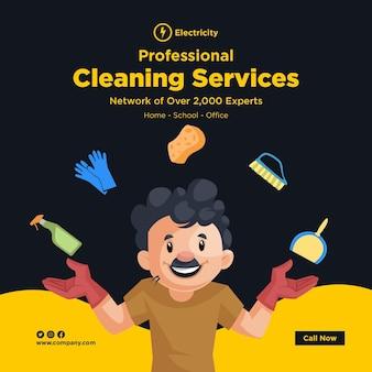 Projekt banera usług profesjonalnych w zakresie sprzątania