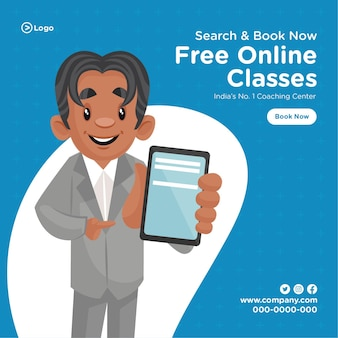 Projekt banera z darmowymi zajęciami online szablon stylu cartoon centrum coachingu