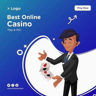 Projekt banera z najlepszym stylem kreskówki kasyna online