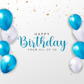 Projekt banera z okazji urodzin z gratulacjami z balonami konfetti i błyszczącą wstążką z brokatem
