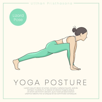 Projekt banera z ręcznie rysowaną ilustracją zdrowej młodej kobiety ćwiczącej jogę w pastelowym stroju ilustracja wektorowa
