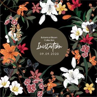 Projekt banera z wieloma rodzajami kwitnących kwiatów ogrodowych