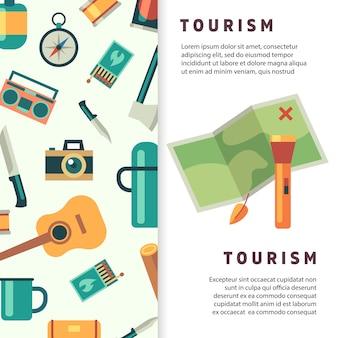 Projekt bannera turystycznego z płaską mapą i akcesoriami