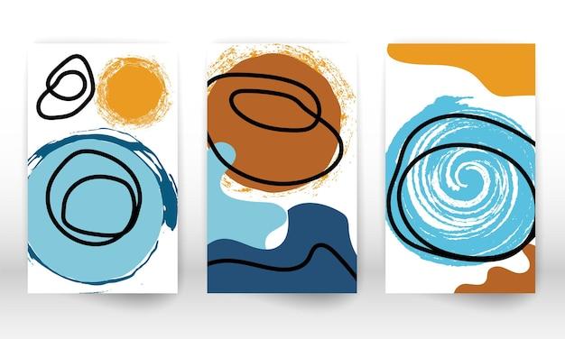 Projekt bazgrołów. nowoczesne malarstwo abstrakcyjne. zestaw kształtów geometrycznych. streszczenie ręcznie rysowane elementy projektu efekt akwareli. druk sztuki nowoczesnej. współczesny design z kształtami doodle.