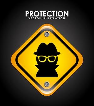 Projekt bezpieczeństwa na czarnym tle ilustracji wektorowych