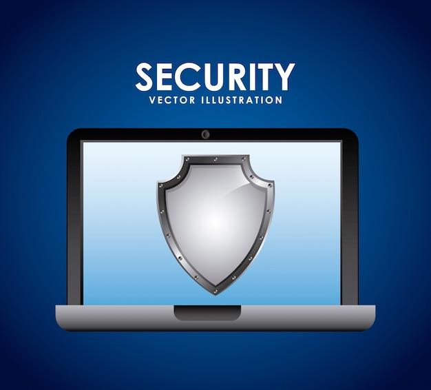 Projekt bezpieczeństwa na niebieskim tle ilustracji wektorowych