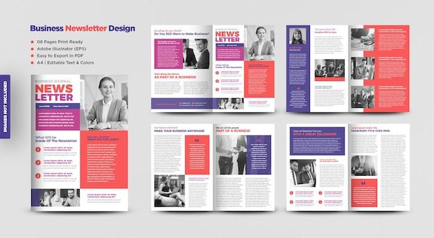 Projekt biuletynu biznesowego lub czasopisma lub projekt raportu miesięcznego lub rocznego