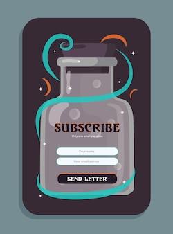 """Projekt biuletynu o miksturach. butelka z ilustracjami czarodziejskiego napoju z przyciskiem """"wyślij list"""", polami na imię i nazwisko oraz adres e-mail"""