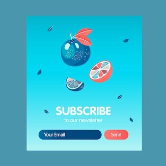 Projekt biuletynu online z czerwonymi i niebieskimi pomarańczami. latające owoce wektorowe ilustracje z przyciskiem subskrybuj i polem na adres e-mail. koncepcja żywności i napojów dla projektu listu subskrypcyjnego