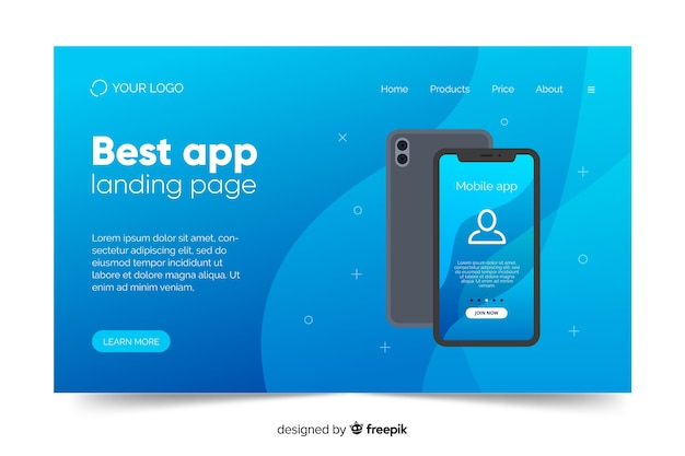 Projekt biznesowy strony docelowej za pomocą telefonu komórkowego