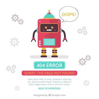 Projekt błędu 404 z czerwonym robotem