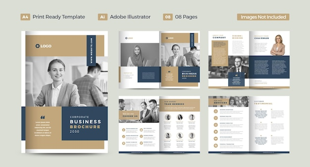 Projekt broszury biznesowej lub raportu rocznego i profilu firmy lub broszury i katalogu