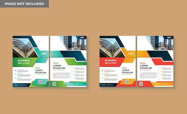 Projekt broszury obejmuje nowoczesny układ ulotki plakatu rocznego raportu w formacie a4 z kolorowym geometrycznym kształtem