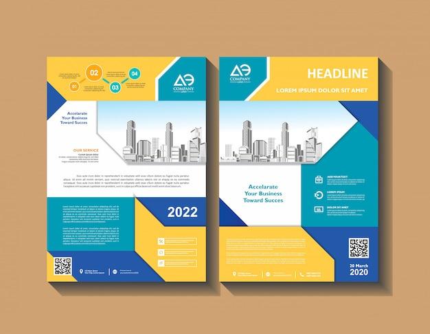Projekt broszury obejmuje nowoczesny układ ulotki rocznego raportu z raportu w formacie a4