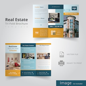 Projekt broszury real estate square trifold