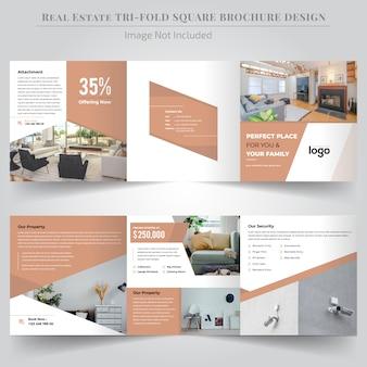 Projekt broszury real estate square trifold