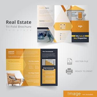 Projekt broszury real estate trifold