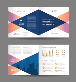 Projekt broszury składanej square business | projekt broszury | dokument marketingowy i finansowy
