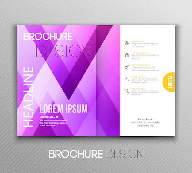 Projekt broszury streszczenie szablon z geometrycznym tłem