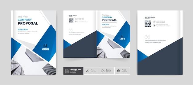 Projekt broszury szablon okładki profil firmy raport roczny lub broszura biznesowa bi fold