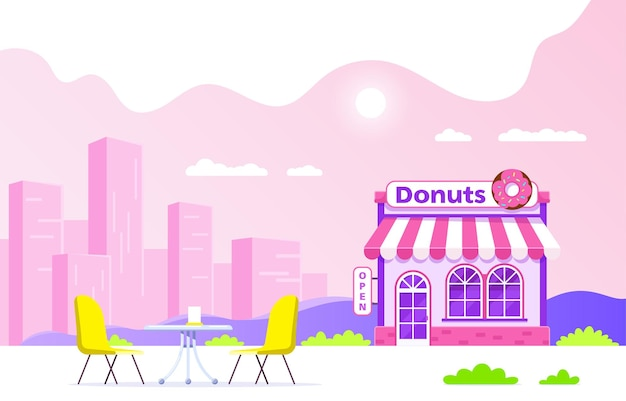 Projekt budynku cukierni. szyld z dużym pączkiem. miejska kawiarnia uliczna z sylwetka dużego miasta na tle. ilustracja płaski.