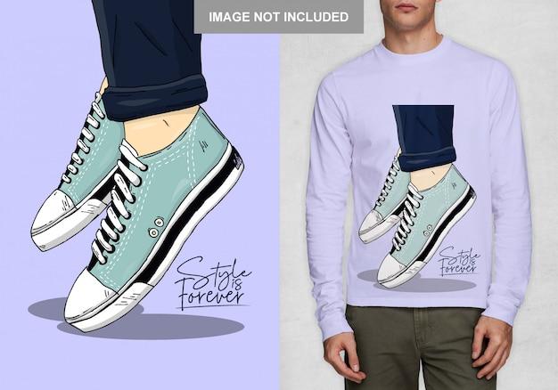 Projekt butów damskich na t-shirt