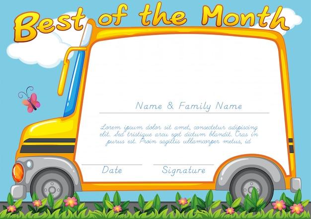 Projekt certyfikatu z tłem autobusu szkolnego