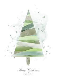 Projekt choinki z zieloną akwarelą na białym tle.