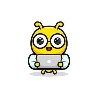 Projekt cute pszczoły miodnej gospodarstwa ilustracji komputera