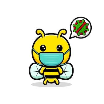 Projekt cute pszczoły miodnej noszenia maski ilustracja