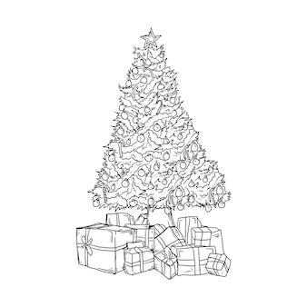 Projekt czarno-białe ręcznie rysowane ilustracji choinki i pudełko