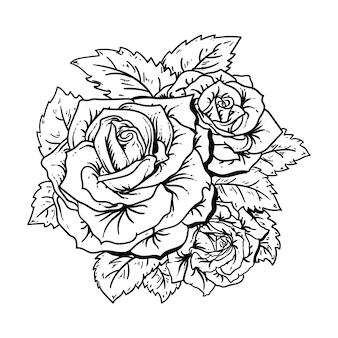 Projekt czarno-białe ręcznie rysowane ilustracji róże premium