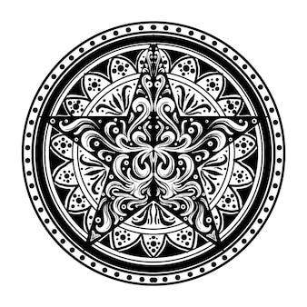 Projekt czarno-biały ręcznie rysowane ilustracja koło gwiazda grawerowanie ornament