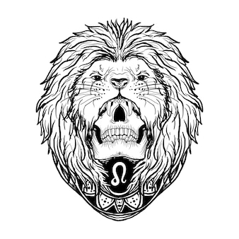 Projekt czarno-biały ręcznie rysowane ilustracji leo skull zodiak